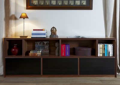 Walnut + black drawers