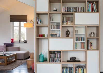 Bookshelves in white oak
