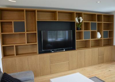 meuble TV - chêne fumé et chêne noir